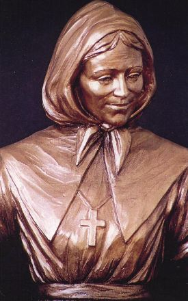 Carved bust of Marguerite Bourgeoys