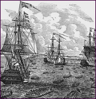 1600s Ships with Masts engraving