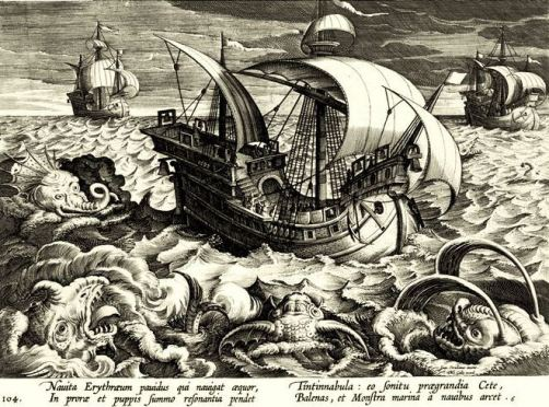 Woodcut of Sea and Serpents