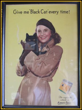 Another lady clutching a black cat Cigarette Advert