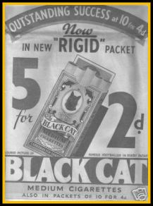 Newspaper Ad B&W for Black Cat Cigarettes