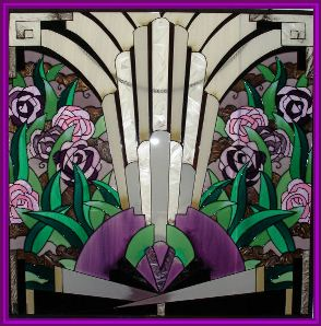 Floral Art Deco Design compining greens and purples