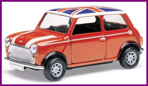 Corgi Mini sporting a red white and blue Union Jack roof