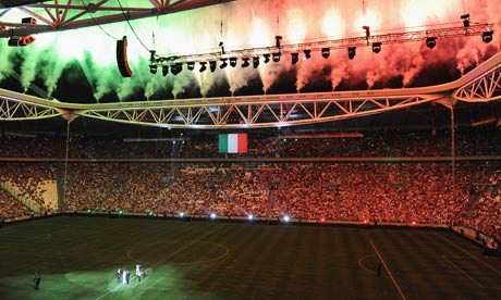 Stadium lit in red, white, green