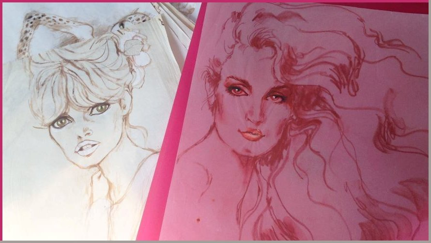 Sketches of Bardot and Jerry Hall