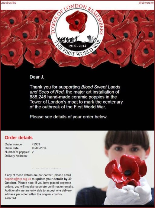 Poppy Acknowledgement E-Mail