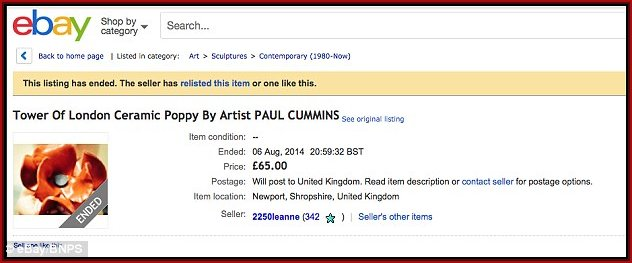 Attempts to sell Poppies on ebay