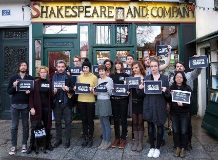 Mourners at Shakespeare and Co
