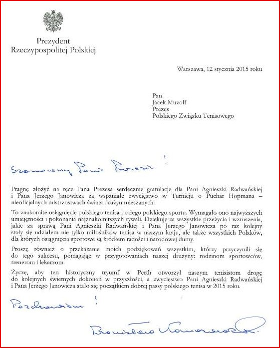 Letter of Congratulations from the President of Poland