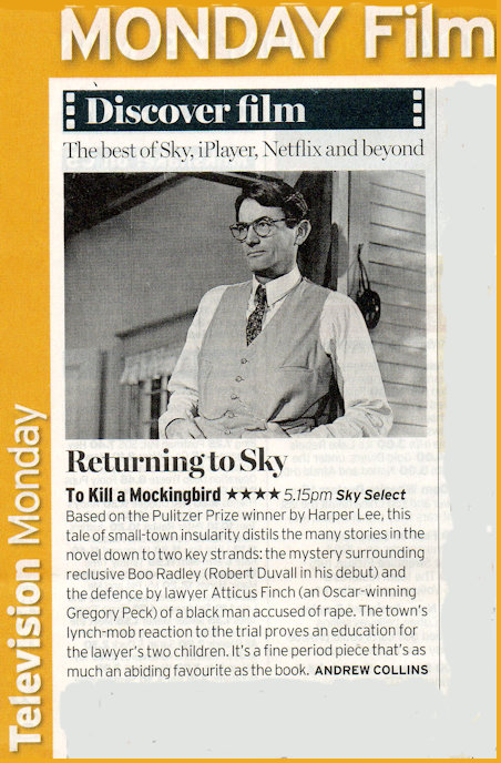 Film To Kill a Mockingbird Radio Times entry
