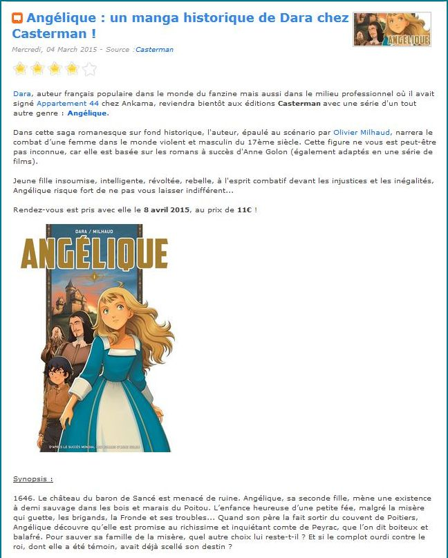 Angelique Manga as advertised on Manga-News