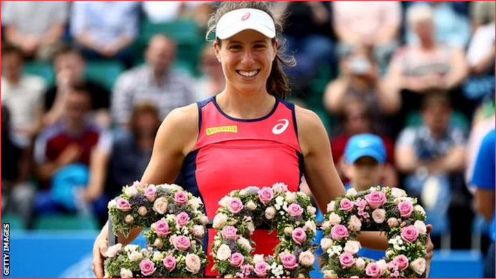 Konta receives flowers for 300th win at Nottingham Open