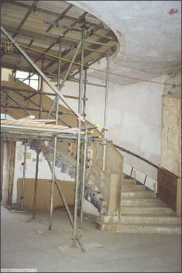 Scaffolding protects the interior stairwell