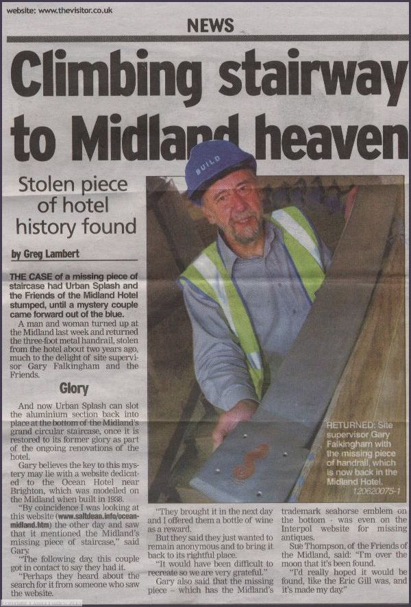 Newspaper article referering to the stolen bannister