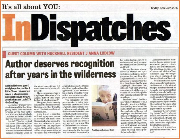 Hucknall Dispatch article Anne Golon
