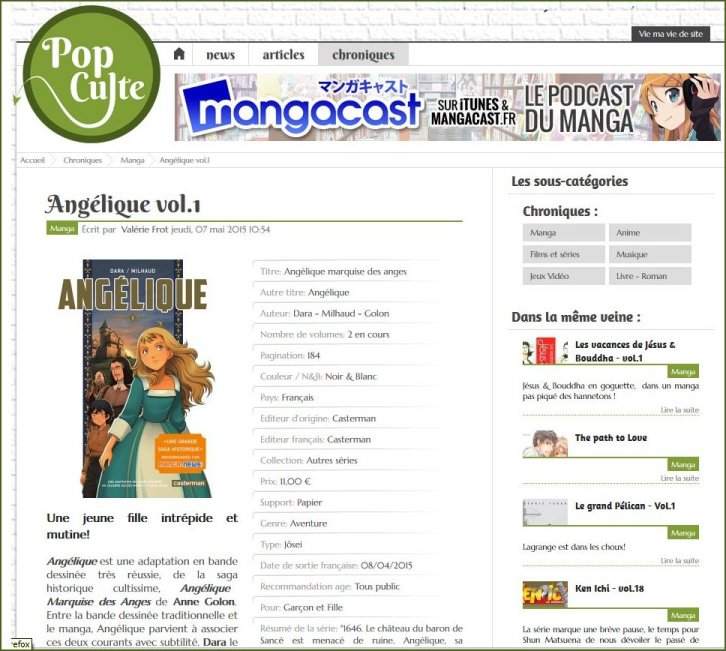 PopCult review of the Manga