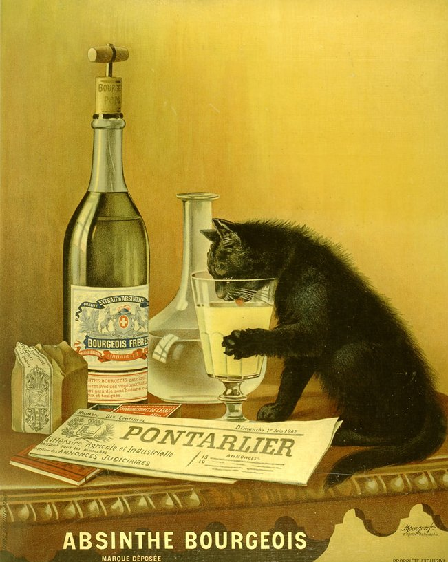 Cat Poster advertising Absinthe