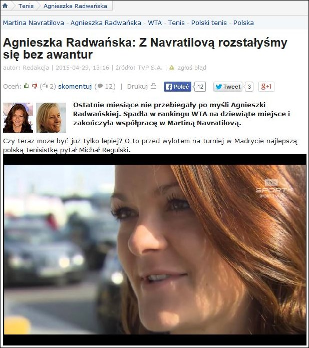 Navratilove Radwanska finish collaboration