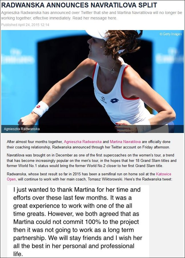 Radwanska announces split on Twitter