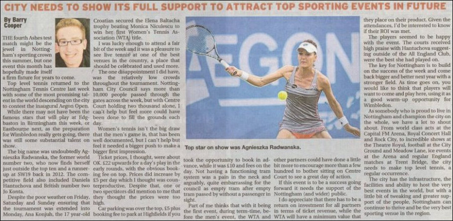 Nottingham Post article promoting tennis in the city