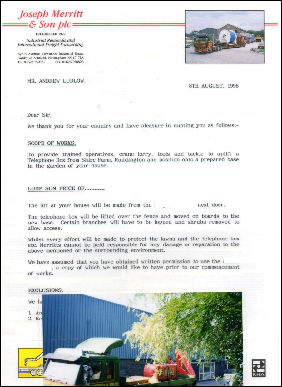 Letter from Removals Experts