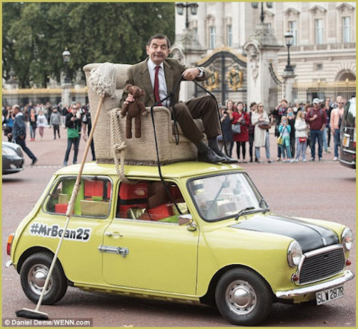 Mr Bean and his Mini 25 years