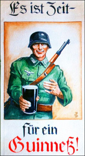 German soldier with pint of Guinness