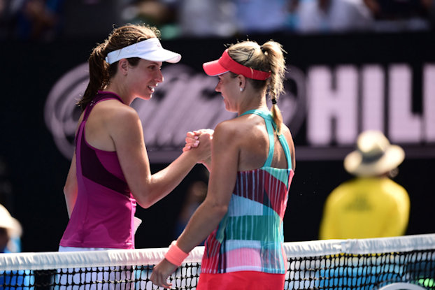 Kerber and Konta at the net AO semi-final