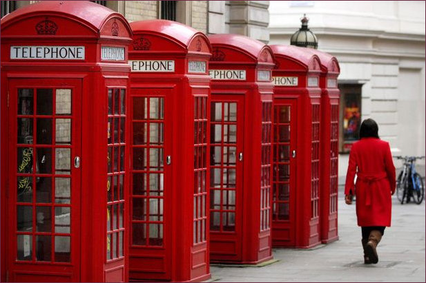Row of red telephone kiosks