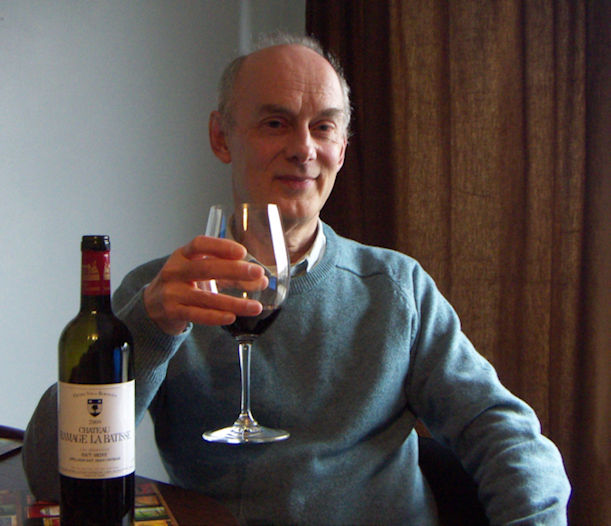 Alan Stafford with bottle of Chateau Ramage la Batisse