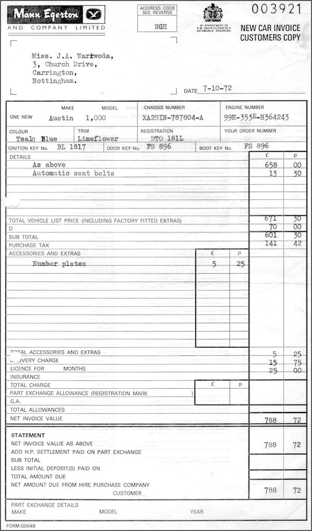 Receipt for TCB 1972
