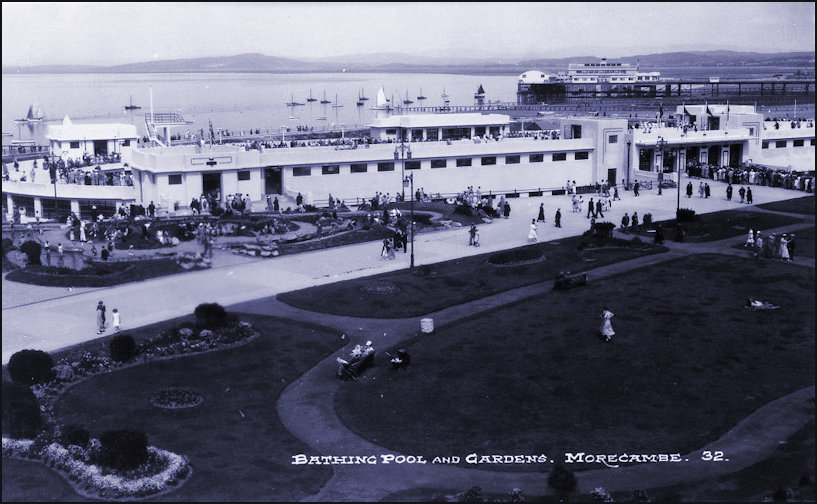Morecambe Super Swimming Stadium entrance and gardens