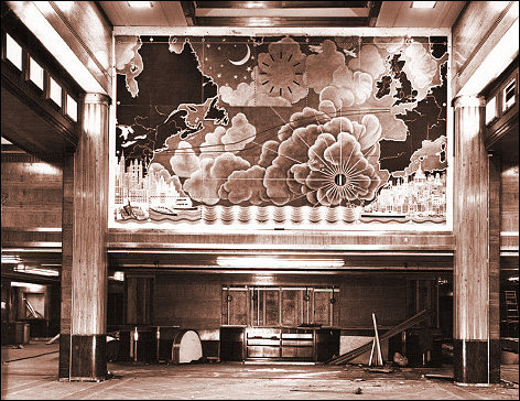 First Class Dining Area Queen Mary showing mural by MacDonald Gill