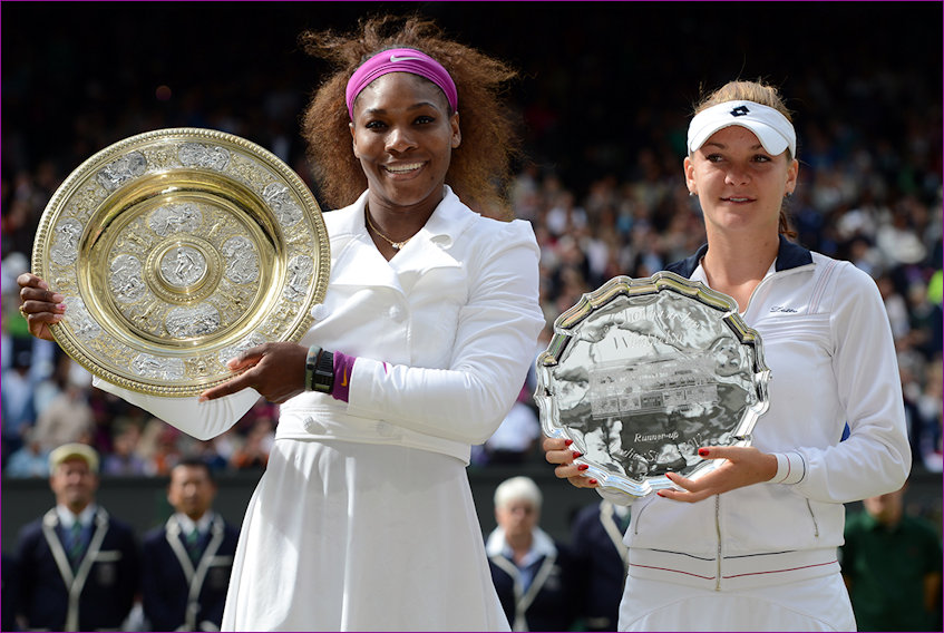 With Serena and Trophies Wimbledon 2012