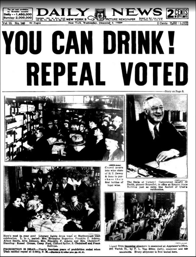 Permission to drink - prohibition is repealed in 1933