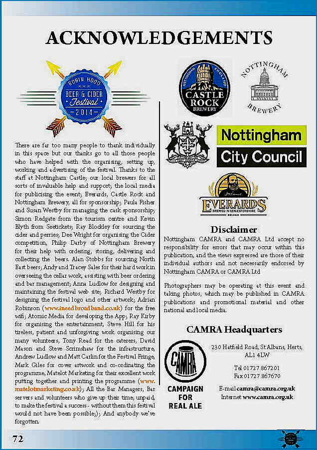 Programme Credit page Beer Festival 2014