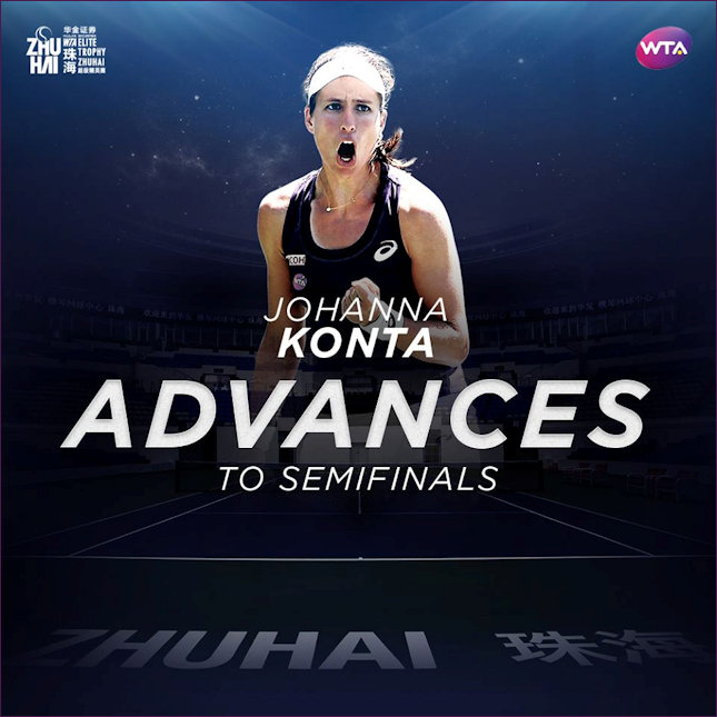 Jo Konta reaches Elite semis