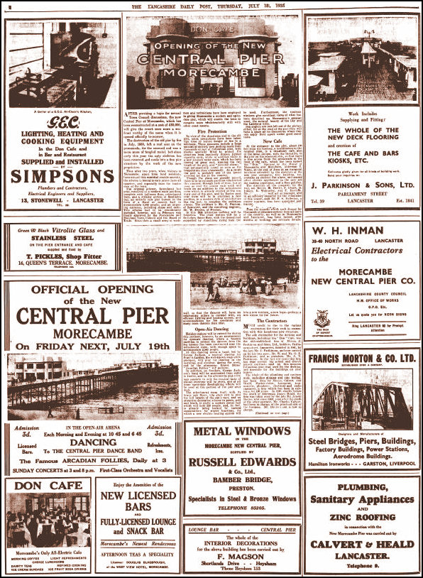 The Lancashire Daily Post announcing the opening of the new central pier in 1935
