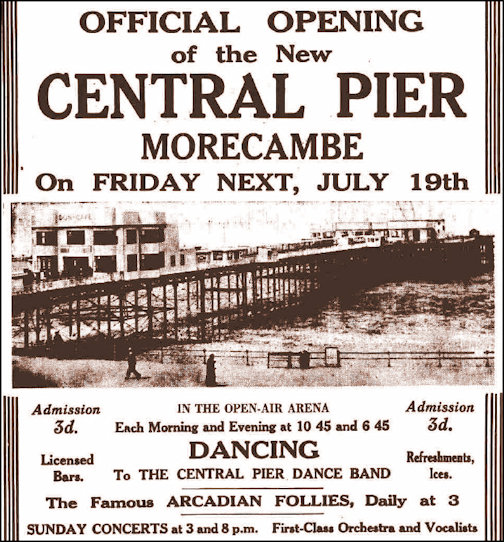 Advertisement for the 1935 opening of Central Pier