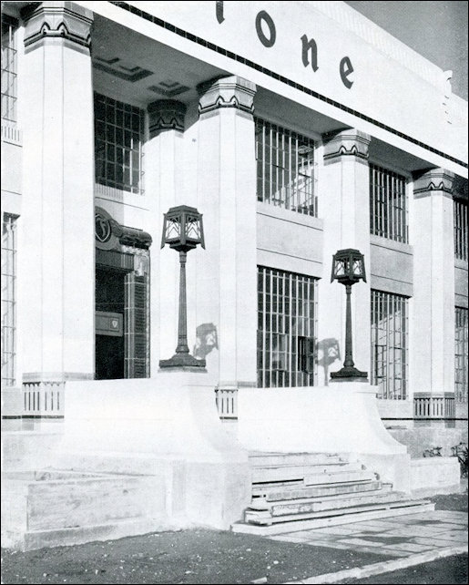 Entrance to the Firestone Building exhibiting the Egyprtian influence