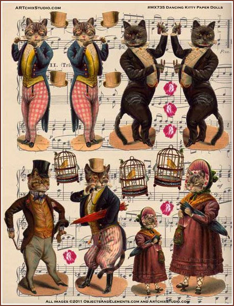 Dancing Cut Out Cats 1800s