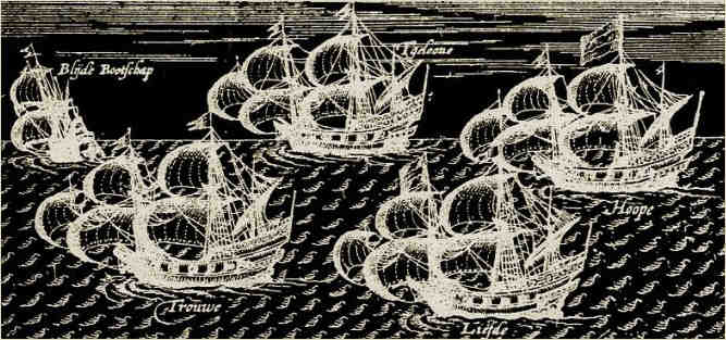 Negative image of a fleet of ships engraving