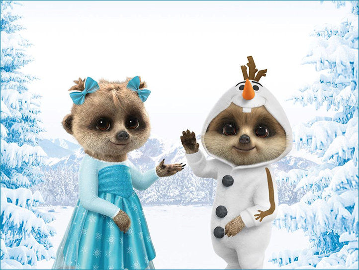 Oleg and Ayanna dressed as Frozen characters
