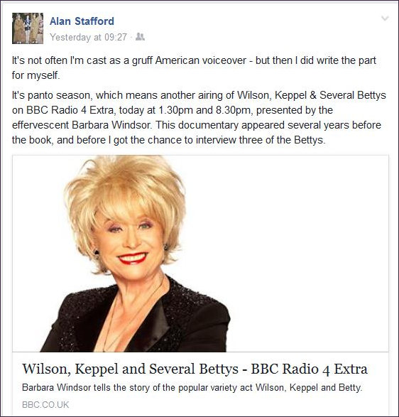 Radio re-broadcast announcement on Alan Stafford's Fb page
