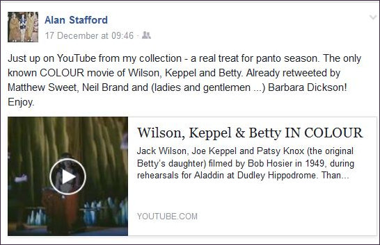 Alan Stafford Fb page announces Wilson Keppel and Betty in colour