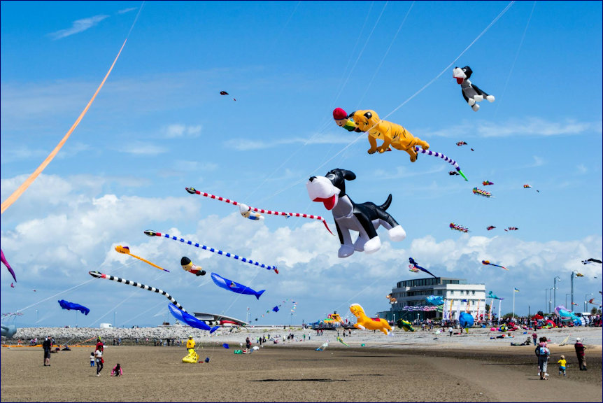 Kites on the beach at the Midland Hotel