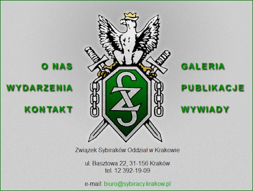 Wb page for the Krakow branch of the Sybiraki