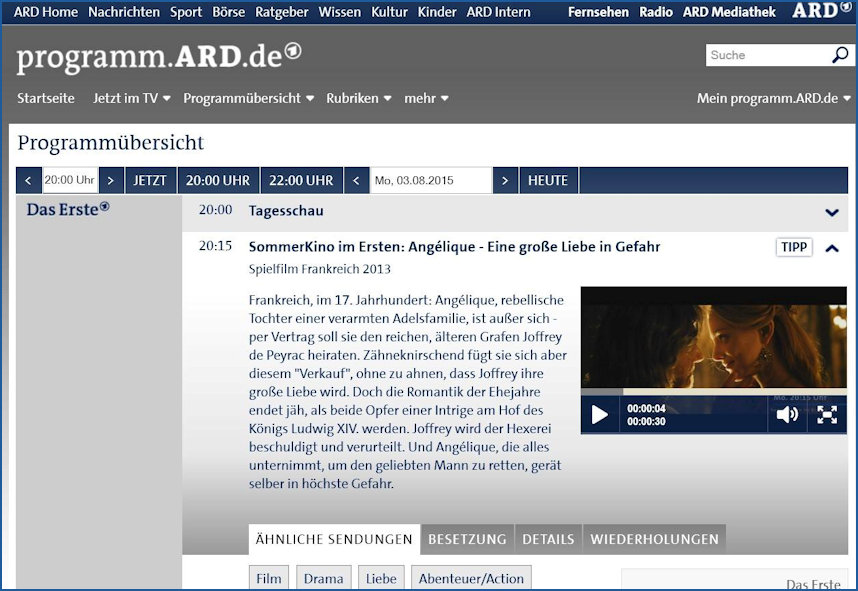 Swiss German Cable TV showing Angelique the Film
