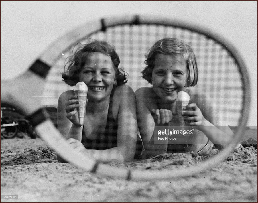 Tennis players on the beach 1934