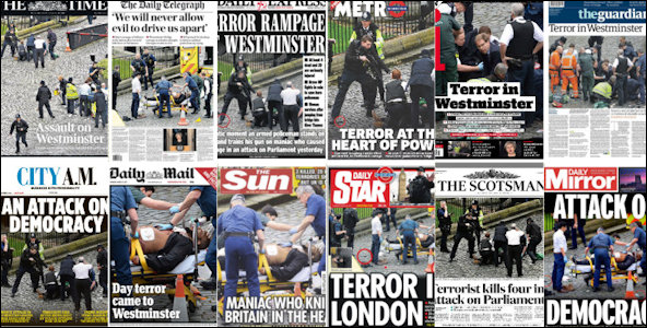 Newspaper headlines following Westminster attack